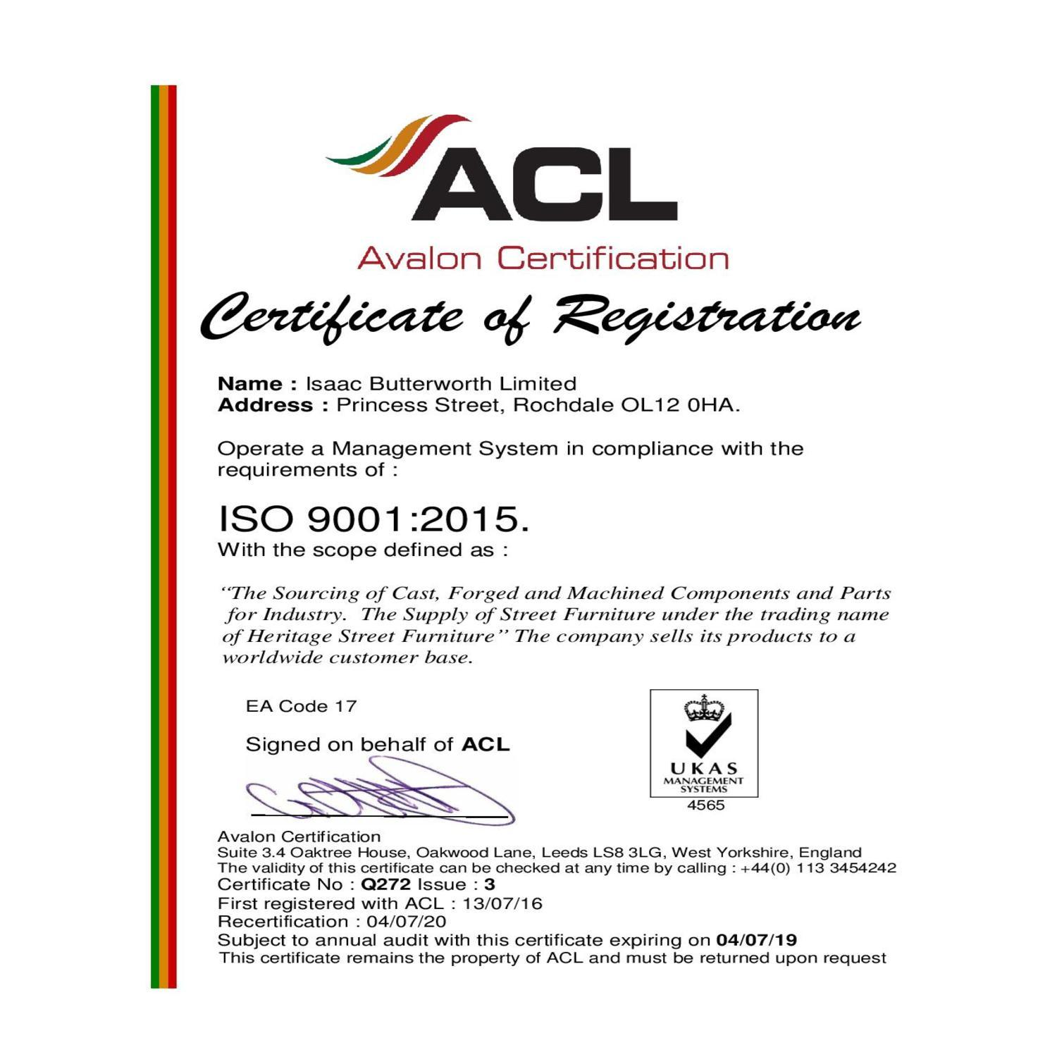 ISO9001:2015 Certificate of Registration